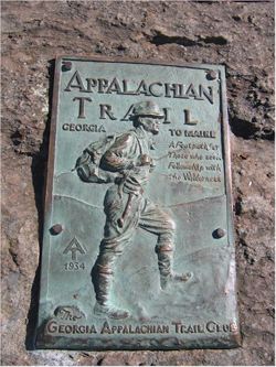 Applachian Trail Plaque at Springer Mountain Georgia